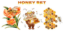 Vector Illustration Of Drawing Honey Set In Watercolor Style Isolated On White Background. Honeycomb, Bee Collects Honey, Bear-beekeeper, Spring Flower.