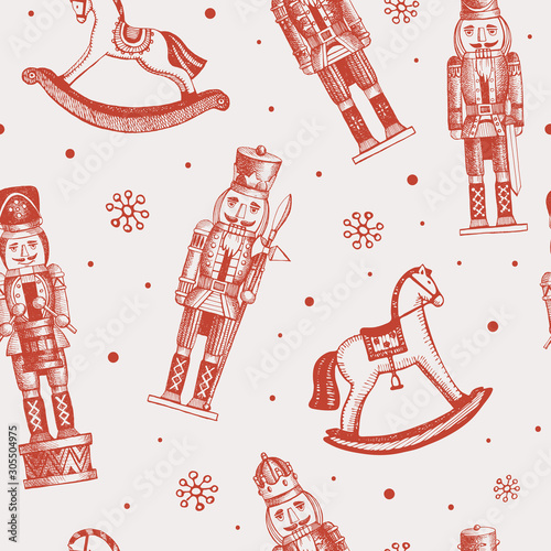 Fotomural Seamless pattern with soldiers nutcrackers and rocking horses