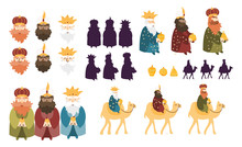 Happy Three Kings Day Celebration. Cute Cartoon Characters Of Three Wise Men Vector Art Set.