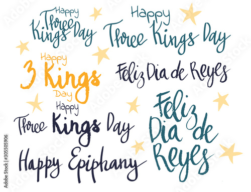 Three Kings Day celebration handwritten lettering phrase vector art set. Caption translation: Happy Three Kings Day