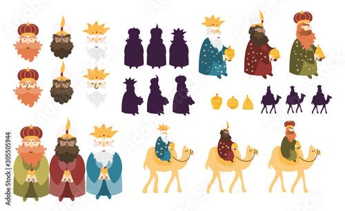 Obraz Happy Three Kings Day celebration. Cute cartoon characters of three wise men vector art set. - fototapety do salonu