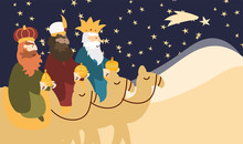Vector Illustration Card For Happy Three Kings Day Celebration. Cute Cartoon Character Of Three Wise Men.