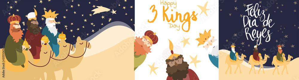 Fototapeta Vector illustration cards template set for Epiphany celebration. Cute cartoon character of three wise men. Caption translation: Happy Three Kings Day