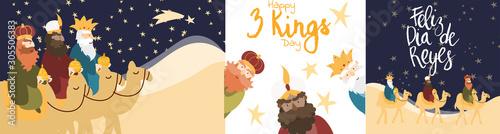 Obraz Vector illustration cards template set for Epiphany celebration. Cute cartoon character of three wise men. Caption translation: Happy Three Kings Day - fototapety do salonu