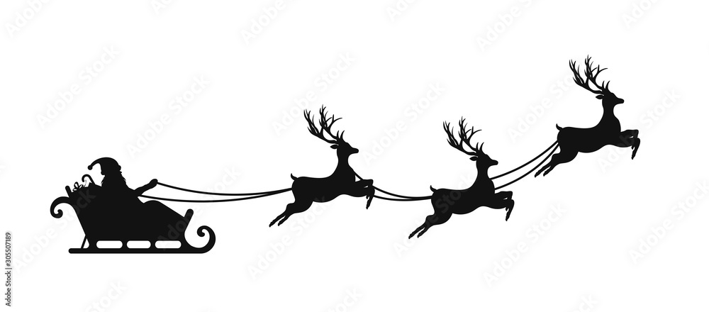 Fototapety, obrazy: Santa Claus is flying in sleigh with Christmas reindeer. Silhouette of Santa Claus, sleigh with Christmas presents and reindeer
