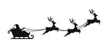 Santa Claus is flying in sleigh with Christmas reindeer. Silhouette of Santa Claus, sleigh with Christmas presents and reindeer