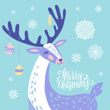 Cute Christmas Greeting Card, Invitation With Reindeer With Christmas Toys On The Horns. Hand Drawn Deer With Snowflakes Design. Flat Illustration Background.