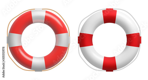 Fotomural  Realistic red and white lifebuoy whith a rope