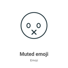 Muted Emoji Outline Vector Ico...