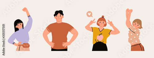 Young man and women in trendy clothes reveal various emotions. Mood expression. Modern fashion look. Hand drawn vector trendy illustration. Flat design. Cartoon style. All elements are isolated