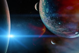 Alien planets in the outer space. Elements of this image furnished by NASA.
