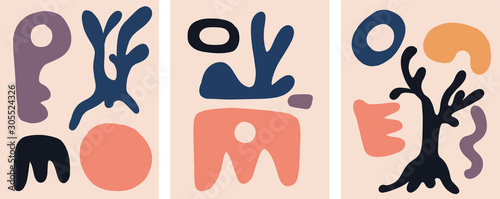 Set of nordic design template with abstract organic shapes in pastel colors Canvas Print