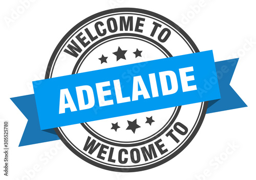 Adelaide stamp. welcome to Adelaide blue sign Canvas Print