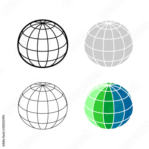 Earth globe 3D mesh model icon Canvas-taulu
