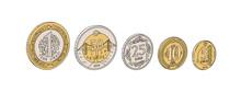 Colorful Hand Drawn Turkish Liras Set. Turkish Coin Vector Illustration. One Turkish Lira, 50 Cents, 25 Cents, 10 Cents, 5 Cents. Turkish Coins Sketch