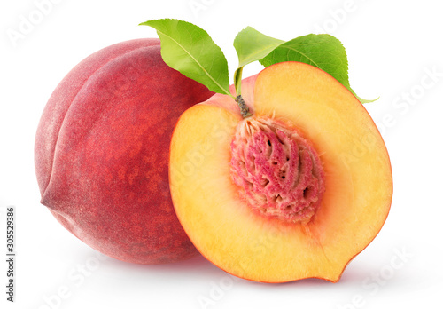 Leinwand Poster Isolated peach fruits