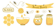 Honey Jar Set Bee Wooden Honey Spoon Bowl Text Sweet Honey In Ribbon Bee Honeycomb Hand Drawn Illustration