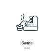 Sauna outline vector icon. Thin line black sauna icon, flat vector simple element illustration from editable hotel concept isolated on white background