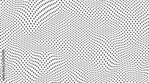 Abstract Black and White Deformed Surface Grid - 3D Rendering Slika na platnu