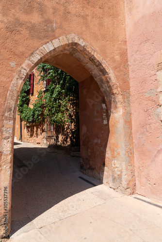 Roussillon ochre archway in town Provence France Canvas Print