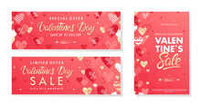 Bundle Of Valentines Day Special Offer Banners With Golden Hearts.Horizontal And Vertical Sale Templates Perfect For Prints, Flyers, Banners, Promotions, Special Offers .Vector Valentines Promos.