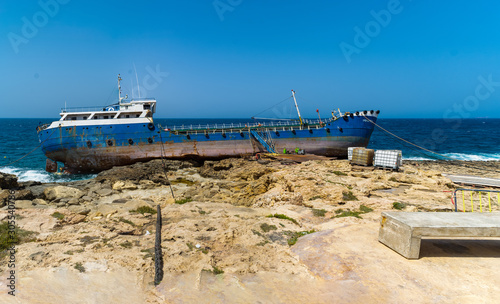 Photo The shipwreck of the Hephaestus run aground at Qawra Point, St Paul's Bay, Malta