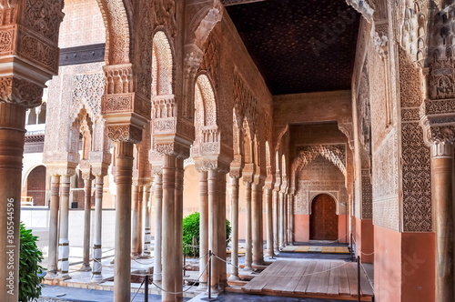 Interiors of Alhambra palace in Granada, Spain Canvas Print