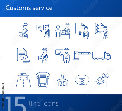 Fotomural  Customs service icons