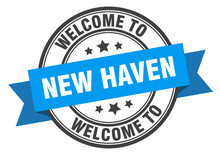 New Haven Stamp. Welcome To New Haven Blue Sign