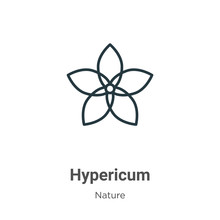 Hypericum Outline Vector Icon. Thin Line Black Hypericum Icon, Flat Vector Simple Element Illustration From Editable Nature Concept Isolated On White Background