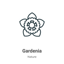 Gardenia Outline Vector Icon. ...