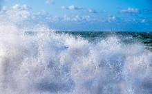 White Spray Off A Wave Breakin...