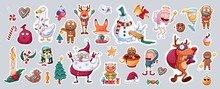 Set Of Merry Christmas And Happy New Year Stickers Or Magnets. Festive Souvenirs.