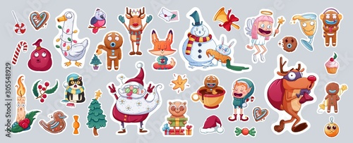 Obraz Set of Merry Christmas and Happy New Year stickers or magnets. Festive souvenirs. - fototapety do salonu