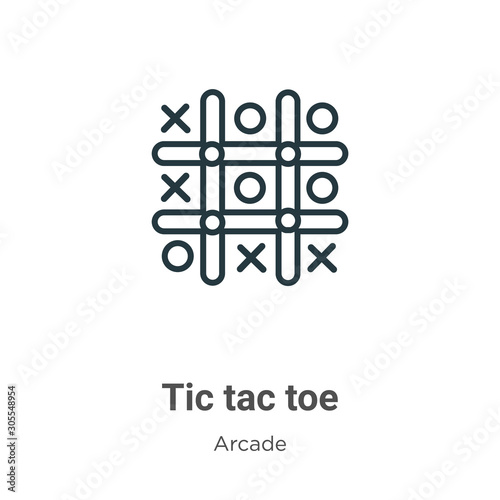 Tic tac toe outline vector icon. Thin line black tic tac toe icon, flat vector simple element illustration from editable entertainment concept isolated on white background Wall mural