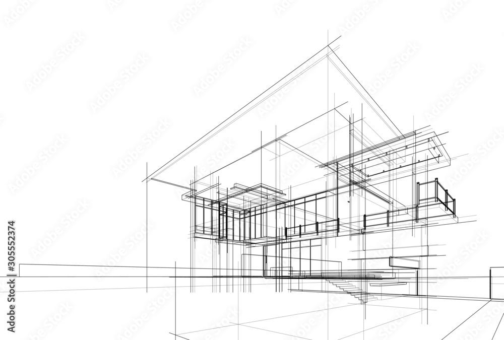 Fototapeta house building sketch architecture 3d illustration