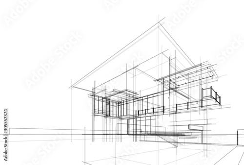 house building sketch architecture 3d illustration - fototapety na wymiar