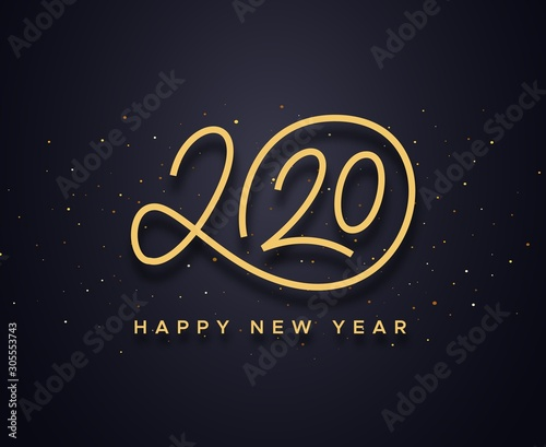 Cuadros en Lienzo Happy New Year 2020 wishes typography