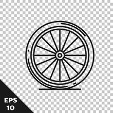 Black Line Bicycle Wheel Icon ...