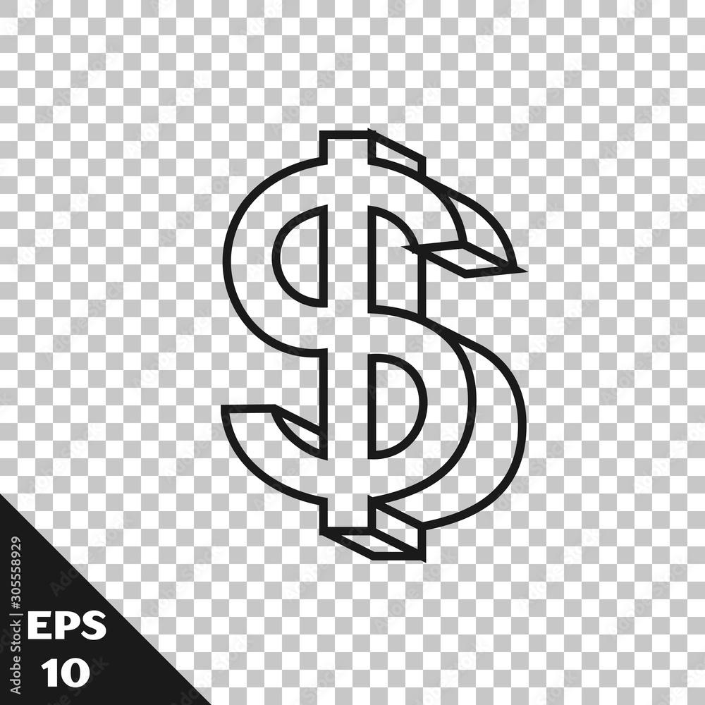 Fototapeta Black line Dollar symbol icon isolated on transparent background. Cash and money, wealth, payment symbol. Casino gambling. Vector Illustration