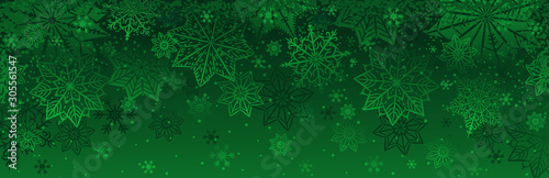 Green christmas banner with snowflakes. Merry Christmas and Happy New Year greeting banner. Horizontal new year background, headers, posters, cards, website.Vector illustration