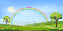 Panorama View Of Spring Village With Green Meadow On Hills With Blue Sky And Rainbow After Rain,Vector Cartoon Spring Or Summer Landscape, Panorama Countryside Mountains With Flowers Fields