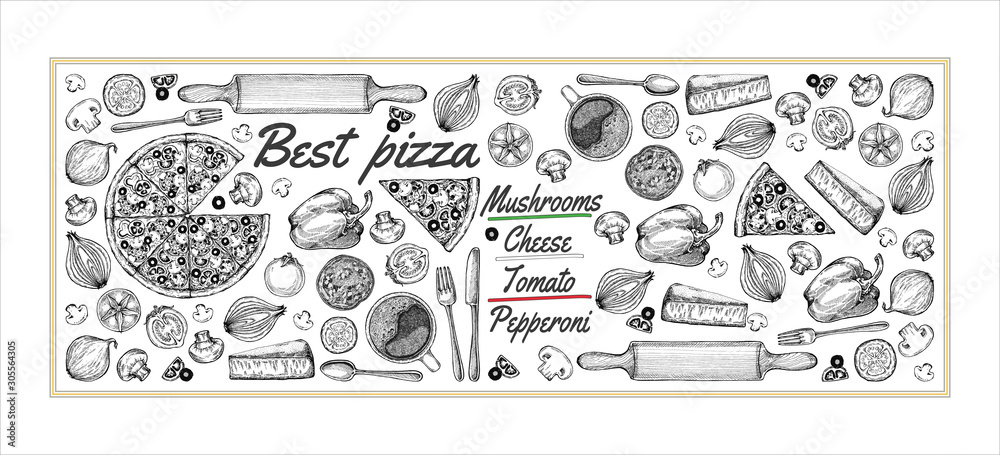 Fototapeta Drawing, pizza, table, organic food ingredients. Hand drawn pizza illustration. Great for menu, poster or label.