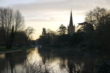 View Across The River Avon Stratford In Warwickshire Countryside