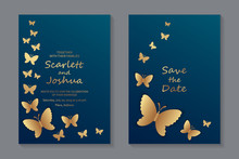 Set Of Luxury Wedding Invitation Design Or Greeting Card Templates With Golden Butterflies On A Navy Blue Background.