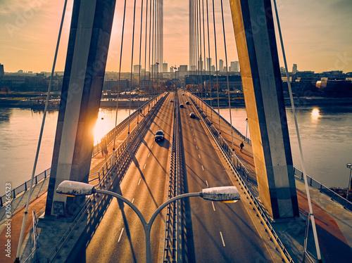 Obraz Panorama Warszawy z perspektywy Mostu Świętokrzyskiego - fototapety do salonu