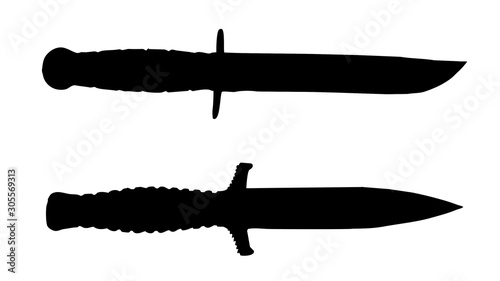 Fotomural Illustration of american military knives and dagger on white background