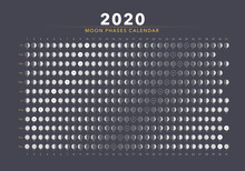 2020 Moon Phases Calendar Gray...
