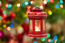 Christmas Decorations And Red Lantern