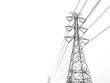 Leinwandbild Motiv Power transmission tower with white background